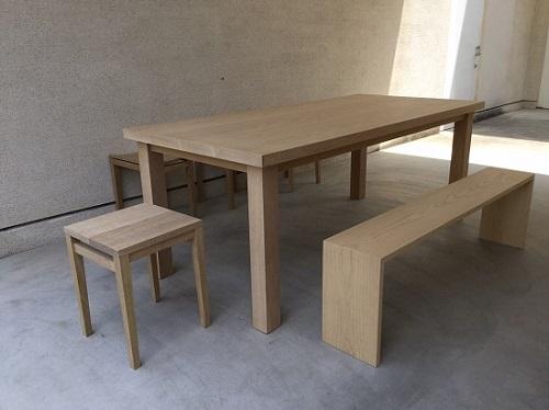 オークのダイニングテーブルセット